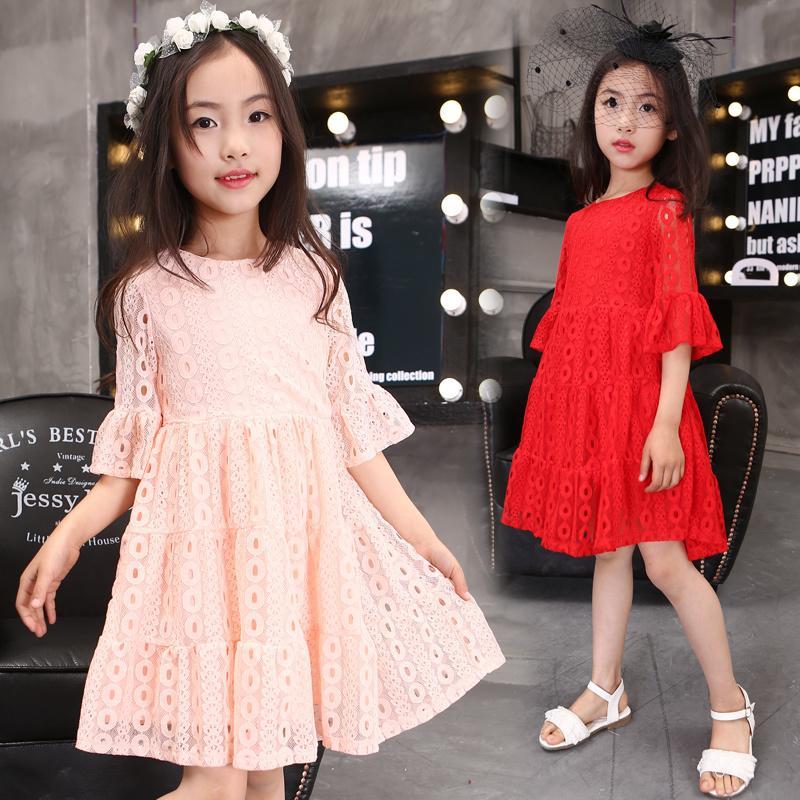 2016夏季新款童裝女童短袖連衣裙韓版中大童甜美喇叭袖蕾絲公主裙