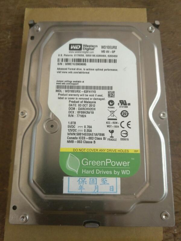 [惜福網拍]賣第三顆綠標 WD 1TB 5400轉 影音監控用3.5吋 WD10EURS-63FH1Y0硬碟 入內看說明