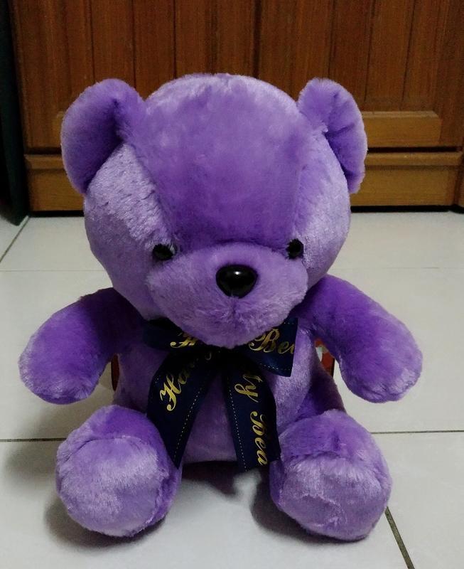 {欣娃小舖}~紫色熊打領帶(28cm)