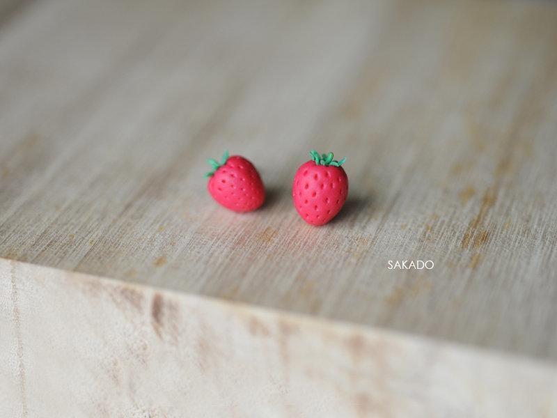 925純銀耳環-阪堂SAKADO-軟陶+純銀系列--甜蜜草莓