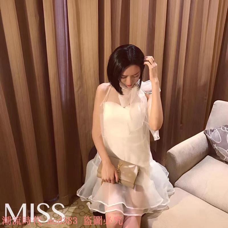 名媛風甜美超仙洋氣系帶蝴蝶結魚尾荷葉歐根紗兩件套連衣裙