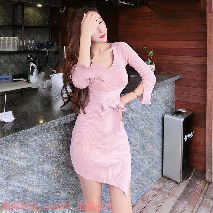 2017秋裝新款V領針織銀絲七分袖綁帶修身開衩純色性感連衣裙女