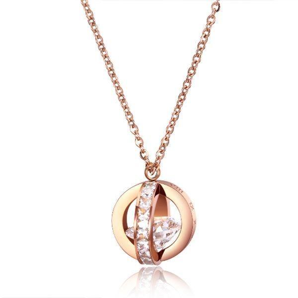 《 QBOX 》FASHION 飾品【C100N1467】精緻秀氣雙環圈羅馬數字鑲鑽玫瑰金鈦鋼墬子項鍊