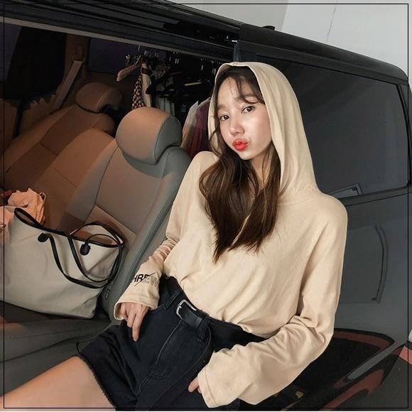 韓國妹 【cb41951】 ❤(100%韓國空運)字母袖口設計連帽上衣 ❤4色