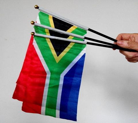 南非手搖旗。旗面 22 x 15公分。背包客 出國留學 旅遊 探親 交換學生 球賽 啦啦隊加油 商店佈置賣場 活動 展覽