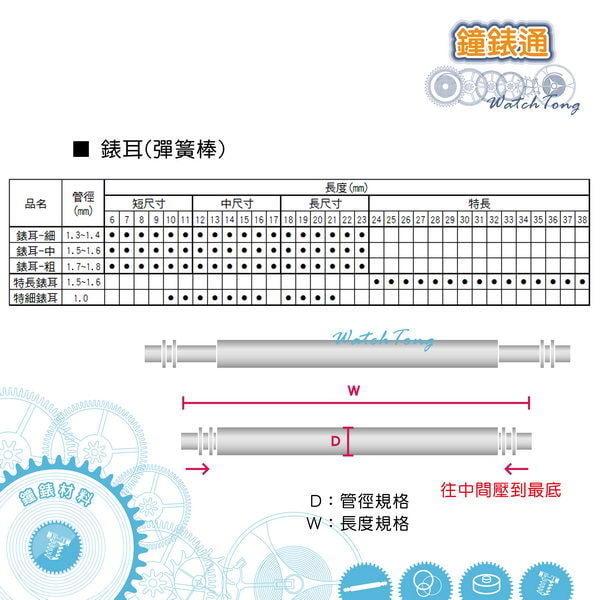 【鐘錶通】錶耳/彈簧棒–細 (管徑1.3~1.4mm ) 單支 / 單一尺寸