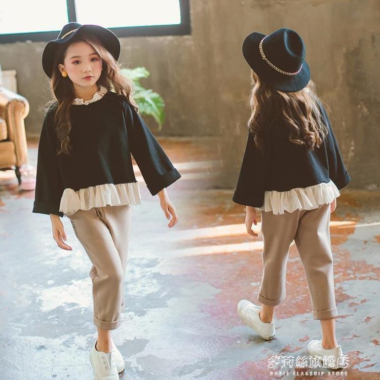 女童秋裝套裝-中大童女童長袖套頭花邊衛衣 九分褲子兩件套春秋季兒童套裝   熱銷