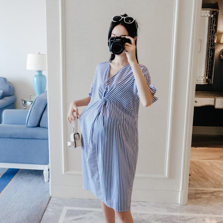 【可開發票】孕婦連身裙中長款夏季職業裝潮媽襯衫裙—聚優購物網