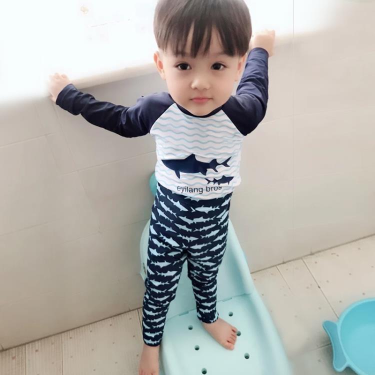 【可開發票】韓國兒童防曬男童長袖泳衣分體寶寶中大童長短褲速幹沖浪服潛水服—聚優購物網