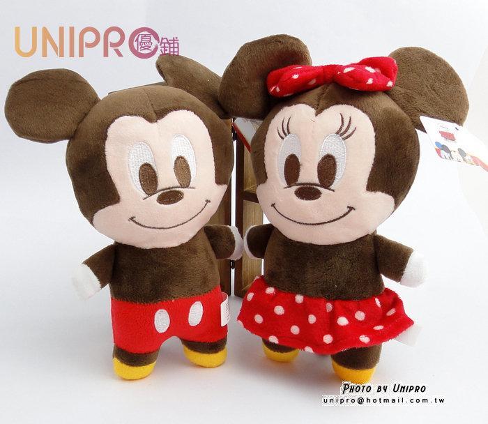 【UNIPRO】迪士尼 米奇 米妮 7吋 絨毛玩偶 造型長抱枕 娃娃 布偶 吊飾 Micky Minnie