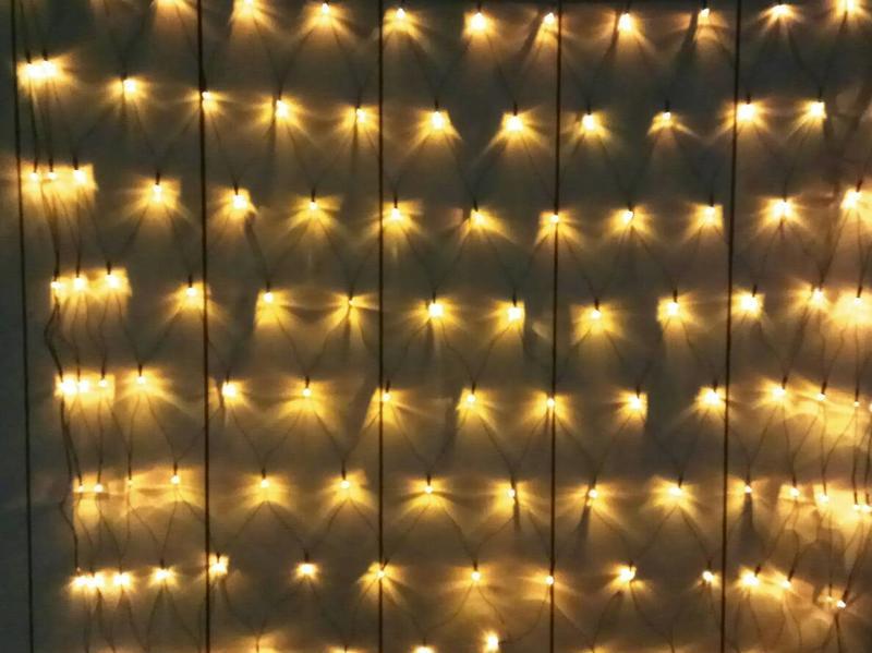 【龍成照明】LED網燈 110V/220V 金黃光 IP65防水 120燈 聖誕燈 冰條燈 流星燈