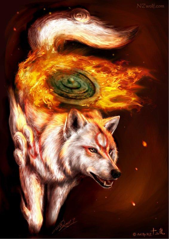 【奇獸幻響】大神 OKAMI 海報 || 同人 二創 狼 白狼 動物 獸