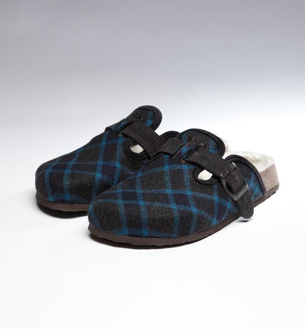 [娃娃屋] 美國 AMERICAN EAGLE 藍色格子毛毛保暖勃肯鞋 #6
