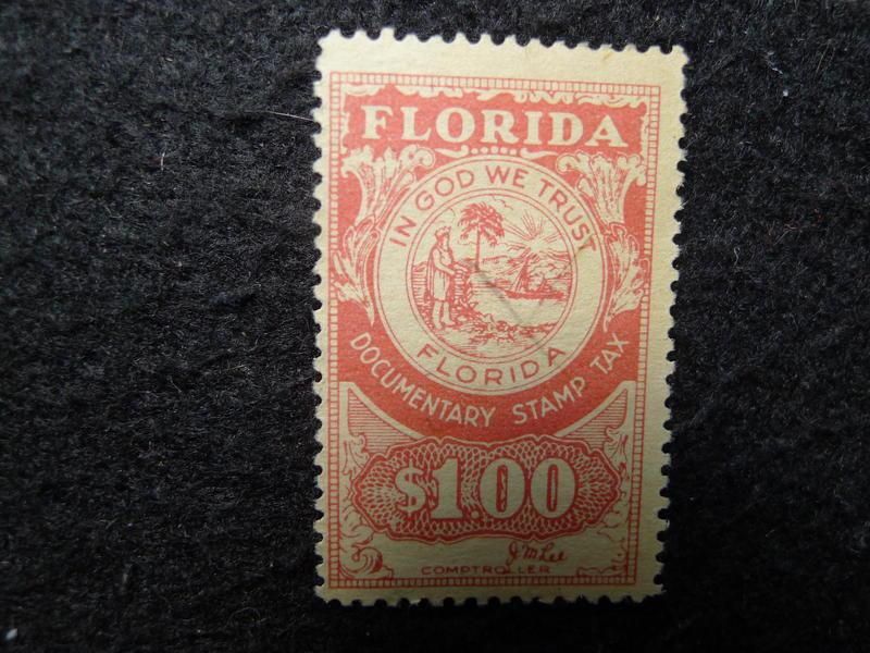 [淘寶蒐珍]-早年 美國佛州 國內稅(DOCUMENTARY.)全新印花  R267-1