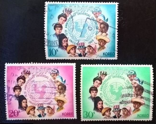 【AntStamp螞蟻郵票站】菲律賓 1969 國際兒童年十五週年紀念 3全 #2681