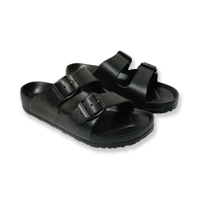 黑色 超輕量防水EVA雙扣休閒 勃肯拖鞋 防水拖鞋  男款 另有白色【哈日酷】