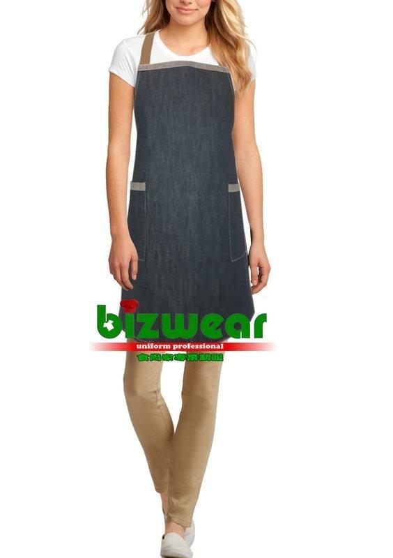 【食尚家】-餐廳圍裙/服務生圍裙/牛仔工作圍裙/廚房圍裙/工業風單寧圍裙/全身純色丹寧圍裙-膝上版