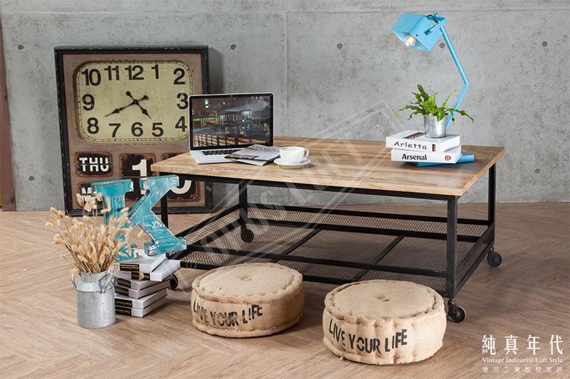 [純真年代工業風家居] AGI-2838 復古工業風 底層鐵網 移動式 咖啡桌