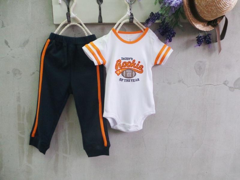 【班比納精品童裝】美式足球寶寶衣/連身衣棉褲套裝-白【S2013152】