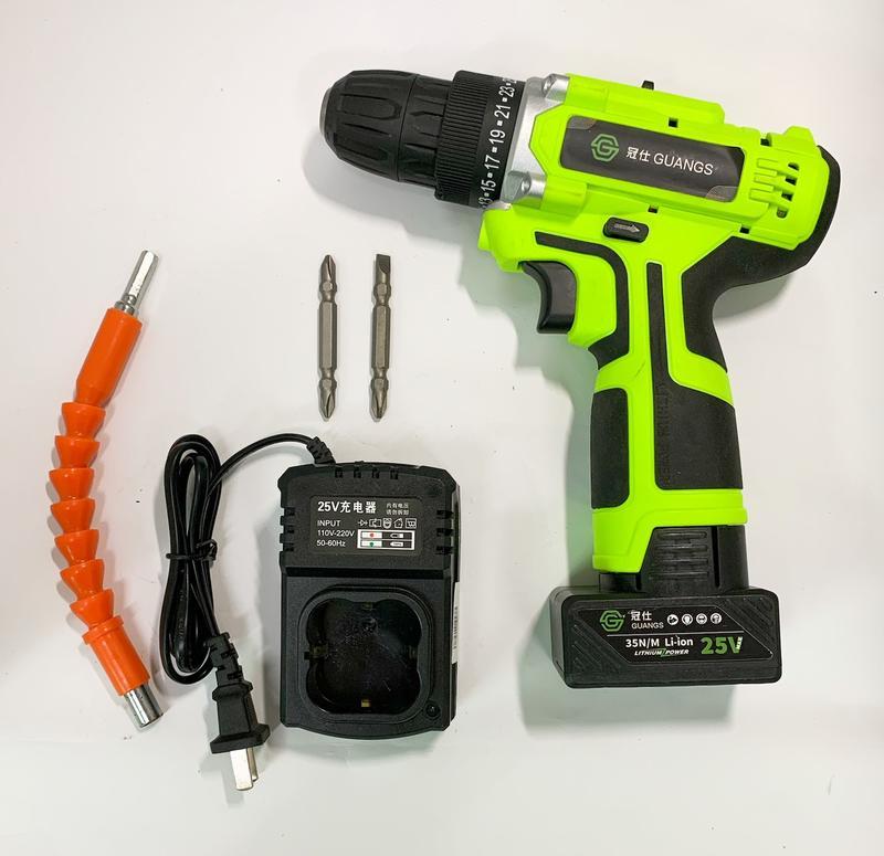 鋰電電鑽 冠仕 25V 1.5AH 簡配 /家用手電鑽 / 充電式電動螺絲刀 / 電起子手鑽 / 純銅電機  保固半年