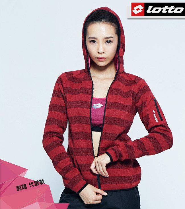 北台灣大聯盟 義大利第一品牌-LOTTO *茵茵代言*女款保暖聲溫刷毛連帽外套 保暖二級 1241暗紅 超值價$1456