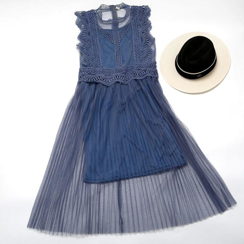 上新▲韓國定制蕾絲邊兩件套網紗三色連衣裙