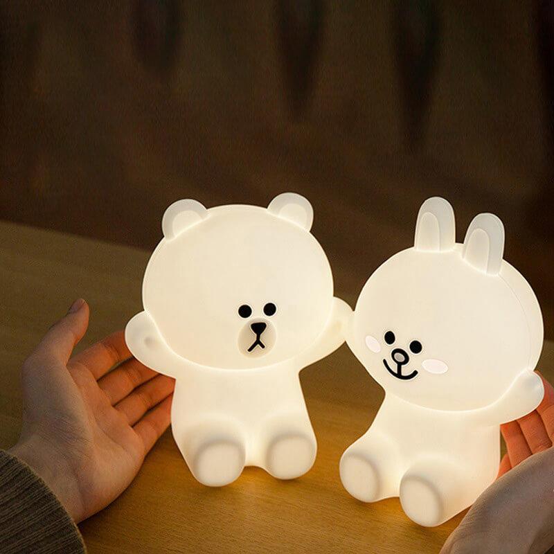 Line可妮兔 布朗熊小夜燈 矽膠床頭燈 USB充電燈 創意可調節桌檯燈