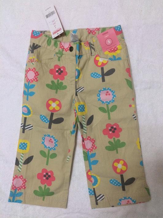 【低價出清】全新(女童)泰國製GYMBOREE駝色花卉七分褲-5Y(版大)