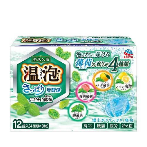 日本地球製藥 溫泡 碳酸入浴錠/溫泉錠12錠(草本薄荷)♥4901080578518(泡澡/入浴)