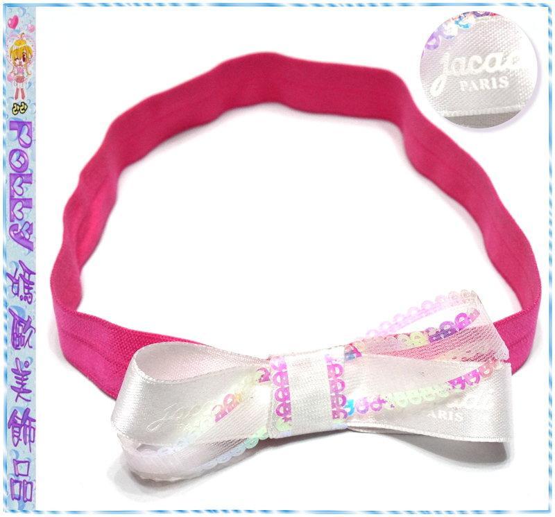 ☆POLLY媽☆手工製作珠光紗/jacadi PARIS印字白色緞帶蝴蝶結桃紅色針織鬆緊嬰幼兒髮帶
