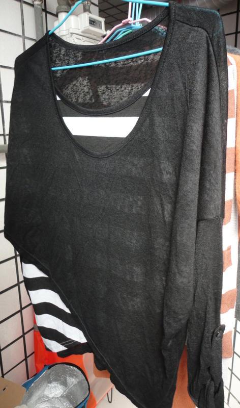 ~~。~~ 針織棉寬版上衣 假二件式罩衫 薄罩衫 造型上衣 (近全新)