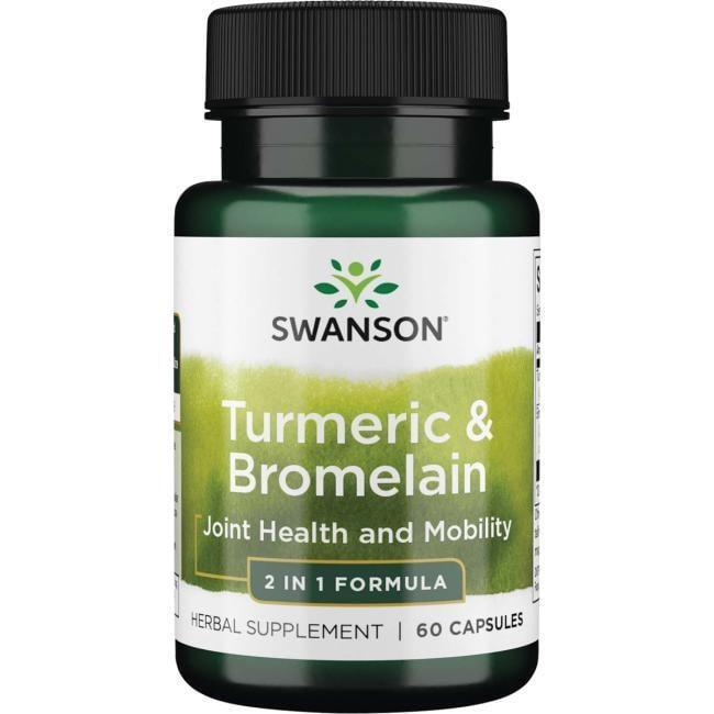 【天然小舖】Swanson 鳳梨酵素 & 薑黃素 Turmeric & Bromelain 60顆