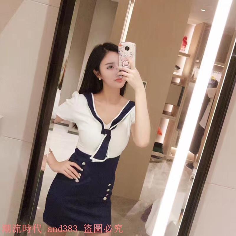 夏季新款海軍風俏皮V領撞色領帶不規則雙排扣修身短袖連衣裙