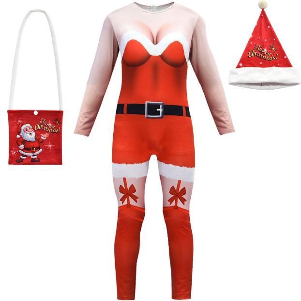 新款聖誕節表演服裝3D性感成人女裝連身衣聖誕帽 (498)