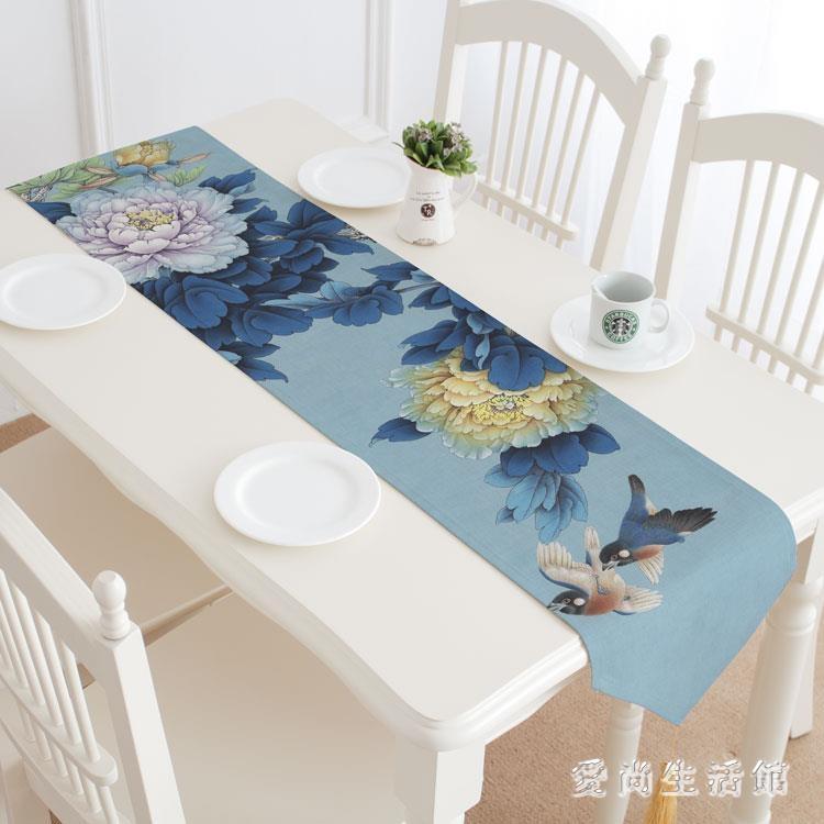 茶桌布 花開牡丹桌旗中式亞棉麻布禪意中國風茶桌布 AW2647--優的館