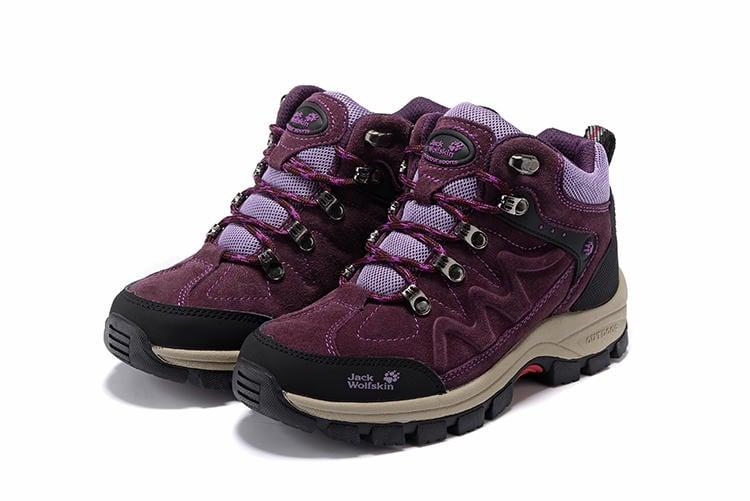 Jack wolfskin/狼爪登山鞋 高邦戶外運動鞋 防水防滑徒步鞋 女士登山鞋 雪地靴 高筒反毛皮戶外鞋