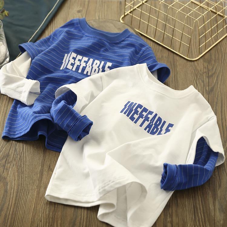【可開發票】童裝男童長袖T恤假兩件兒春秋款兒童中大童衛衣體恤洋氣純棉上衣—聚優購物網