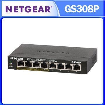 Netgear GS308P 8埠 - 4埠PoE 10/100/1000M GIGA高速 PoE供電 網路交換器