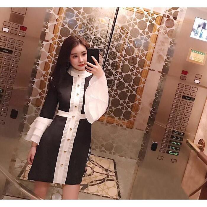 潮品優歐洲站宮廷秋冬新款黑白撞色荷葉邊喇叭袖長袖小香風連衣裙