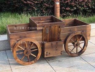 0220炭化4輪木花車-木花盆載用