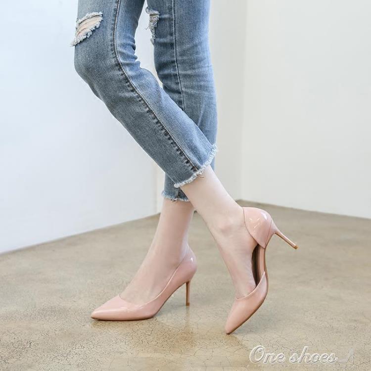 999小舖高跟鞋 高跟鞋女細跟白色尖頭單鞋季裸色百搭夜店側空小