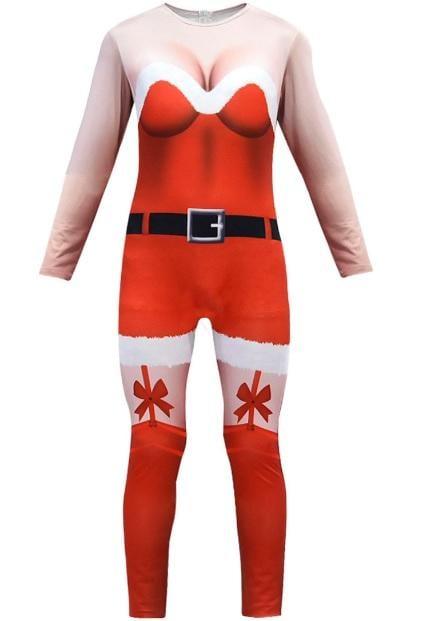 新款聖誕節表演服裝3D性感成人女裝連身衣聖誕帽鞋子多件套 (498)