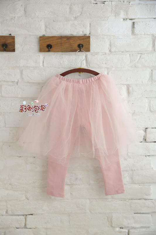 ○。° 彩色泡泡 °。○ 童裝【貨號Q7544】冬。粉紅Princess長紗裙厚棉貼腿褲裙