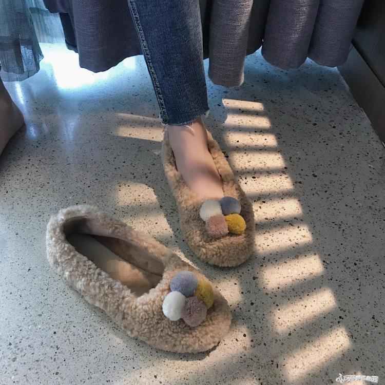999小舖毛絨鞋 南在南方2018秋冬毛毛鞋套腳懶人鞋加絨瓢鞋圓頭