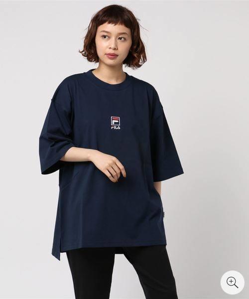 FILA logo深藍色五分袖上衣 五分袖T恤 短袖T恤 短T 運動風 潮 朝牌 古著 二手 vintage 日本代購