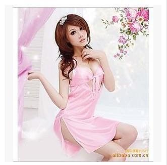 奇樂無窮-情趣內衣 情趣睡衣 女式性感誘惑低胸可愛粉蝴蝶系帶套裝 8114