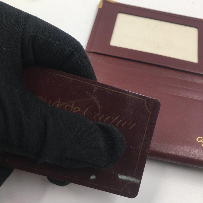 新 Cartier 卡地亞 信用卡夾 名片夾 附保卡 真皮零錢包酒紅色 小牛皮 錢包$498 1元起標 真品