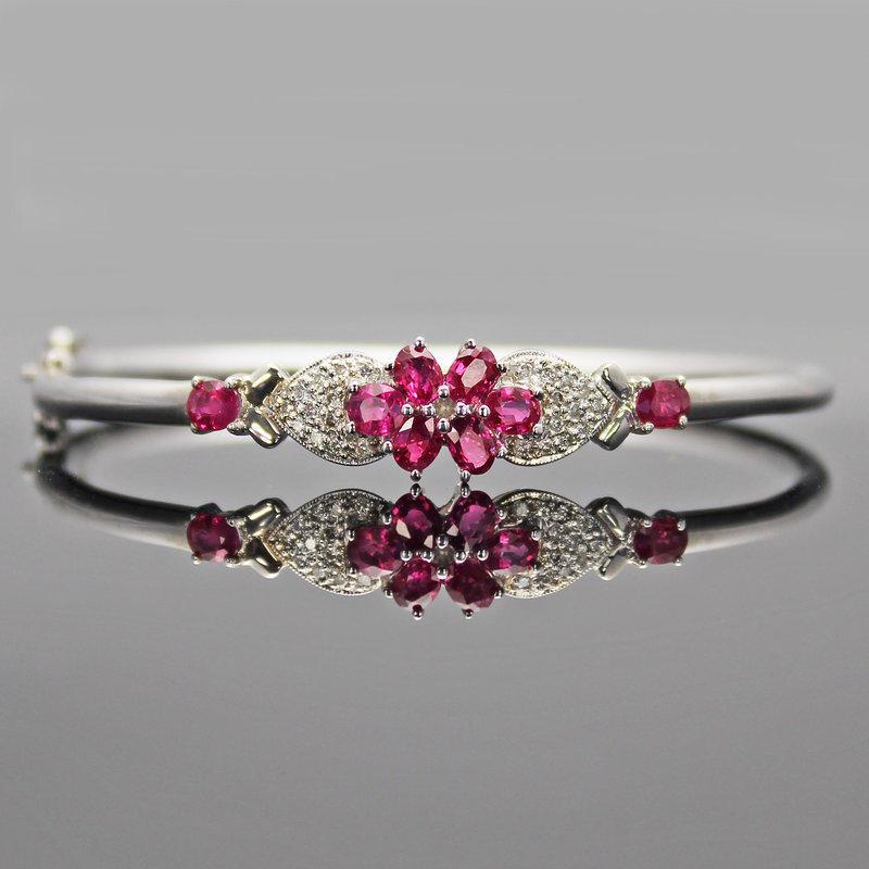 R001天然緬甸紅寶石鑽石K金手環1.89克拉☆紫瑄珠寶☆