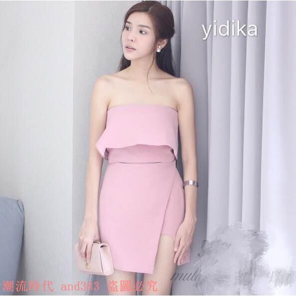 泰國潮牌 荷荷葉邊項圈不規則開叉修身雪紡抹胸連衣裙