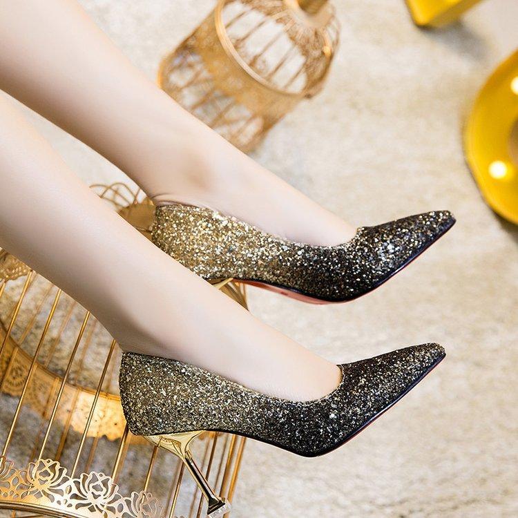 999小舖高跟鞋 春秋季新韓版女士高跟鞋性感酒杯跟貓跟鞋淺口亮